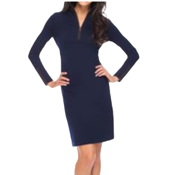 J. McLaughlin Bedford Dress Navy Blue Small EUC
